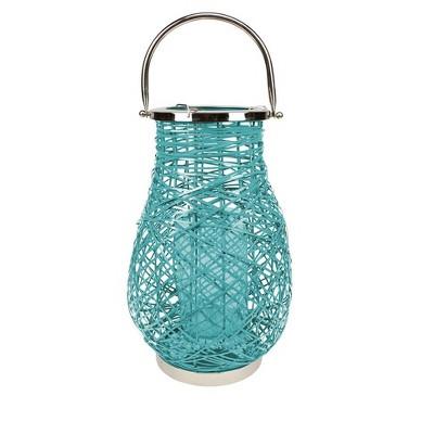 "Northlight 16.25"" Modern Turquoise Blue Decorative Woven Iron Pillar Candle Lantern with Glass Hurricane"