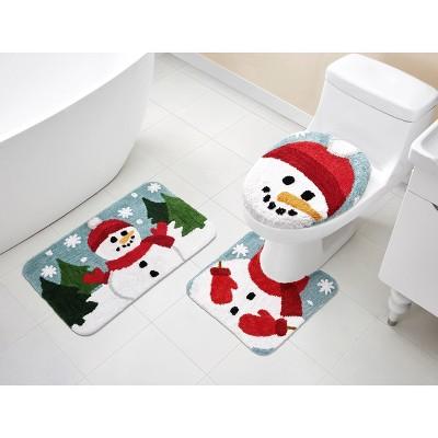 3pc Snowman Holiday Bath Rug Set - VCNY