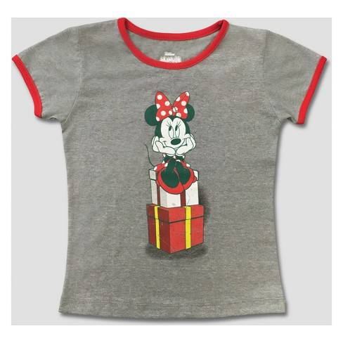 Toddler Girls' Mickey Mouse & Friends Minnie Mouse Short Sleeve T-Shirt - Silver - image 1 of 2