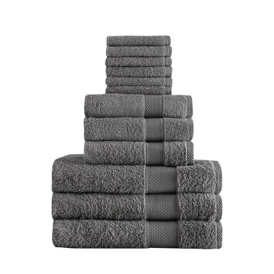 Chloe Bath Towel Set 12pc Sleek Gray - Makroteks
