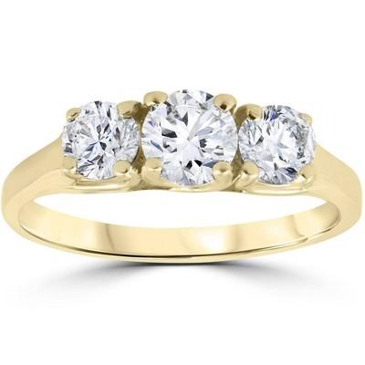 Pompeii3 1ct Three Stone Diamond Engagement Womens Anniversary Ring 14k Yellow Gold