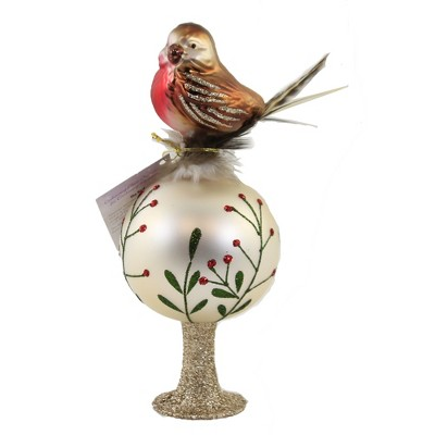 """Inge Glas 7.5"""" Chirping Bird Finial Tree Topper Christmas  -  Tree Toppers"""
