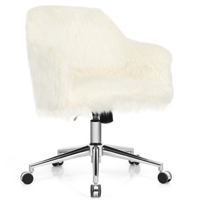 Costway Synthetic Swivel Office Chair Adjustable Task Chair Fluffy Vanity Chair