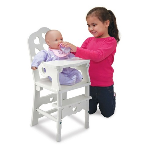 Melissa Doug White Wooden Doll High Chair With Tray 14 75 X 25 Inches Target