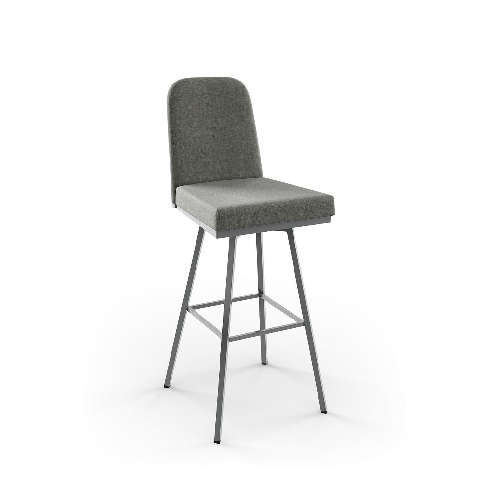 26 Amisco Spoon Counter Stool with Medium Gray Upholstered Seat Glossy Gray Metal