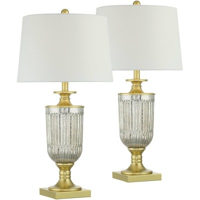 Regency Hill Mid Traditional Glam Style Table Lamps Set of 2 Pedestal Gold Ribbed Glass White Drum Shade Living Room Bedroom House