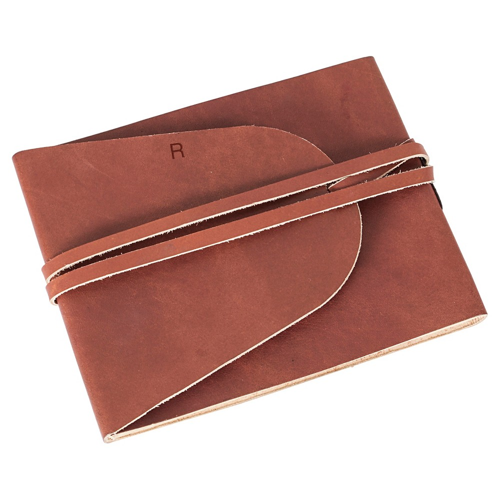 Monogram Leather Guestbook Journal - R, Terracotta-R