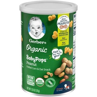 Gerber Organic BabyPops Peanut Puffed Corn & Oat Baby Snacks - 1.23oz