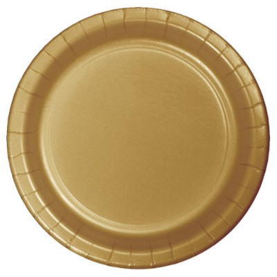 "Glittering Gold 7"" Dessert Plates - 24ct"