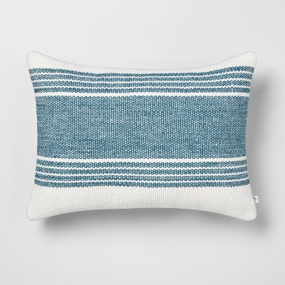 """14"""" x 20"""" Wide Stripe Oblong Pillow Blue - Hearth & Hand™ with Magnolia"""