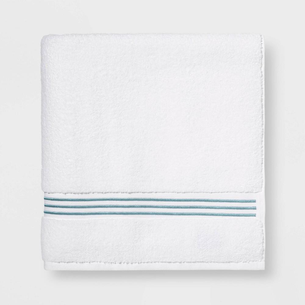 Spa Bath Sheet Aqua Stripe Threshold Signature 8482