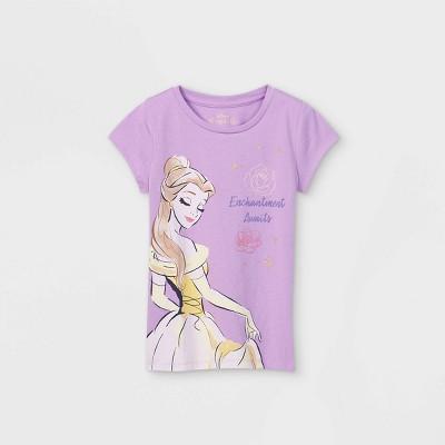 Girls' Disney Belle Enchantment Awaits Short Sleeve Graphic T-Shirt - Purple - Disney Store