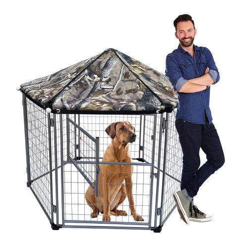 NeoCraft 60101 My Pet Companion Outdoor and Indoor 5.5 Feet Dog Kennel with Canopy for Large Breed Dogs, Camo - image 1 of 4