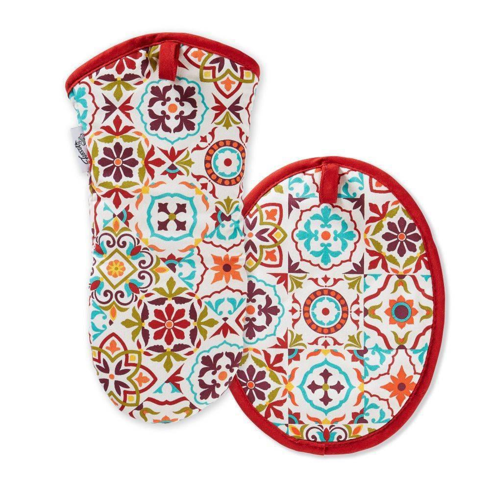 Image of Fiesta Worn Tiles Oven Mitt + Pot Holder - Fiesta