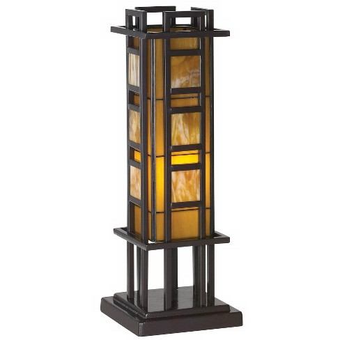 Robert Louis Tiffany Mission Accent Table Lamp Bronze Iron Column Amber Stained Glass for Living Room Family Bedroom Office - image 1 of 4