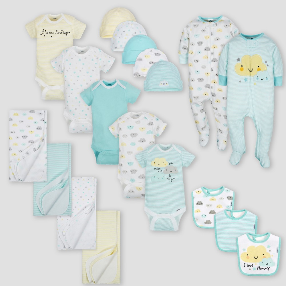 Image of Gerber Baby 19pc Cloud Layette Gift Set - Yellow 0-3M, Kids Unisex, Size: Small