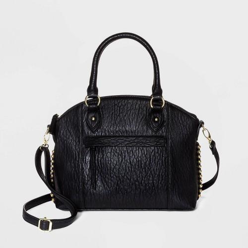 Bueno Zip Closure Satchel Handbag Black