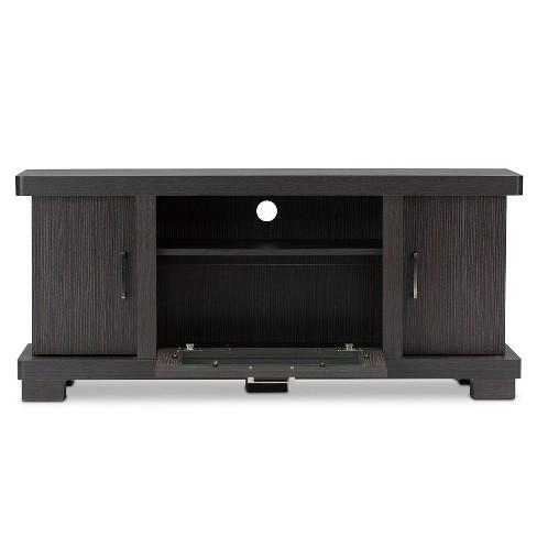Viveka 47 Wood Tv Cabinet With 2 Doors Dark Brown Baxton Studio