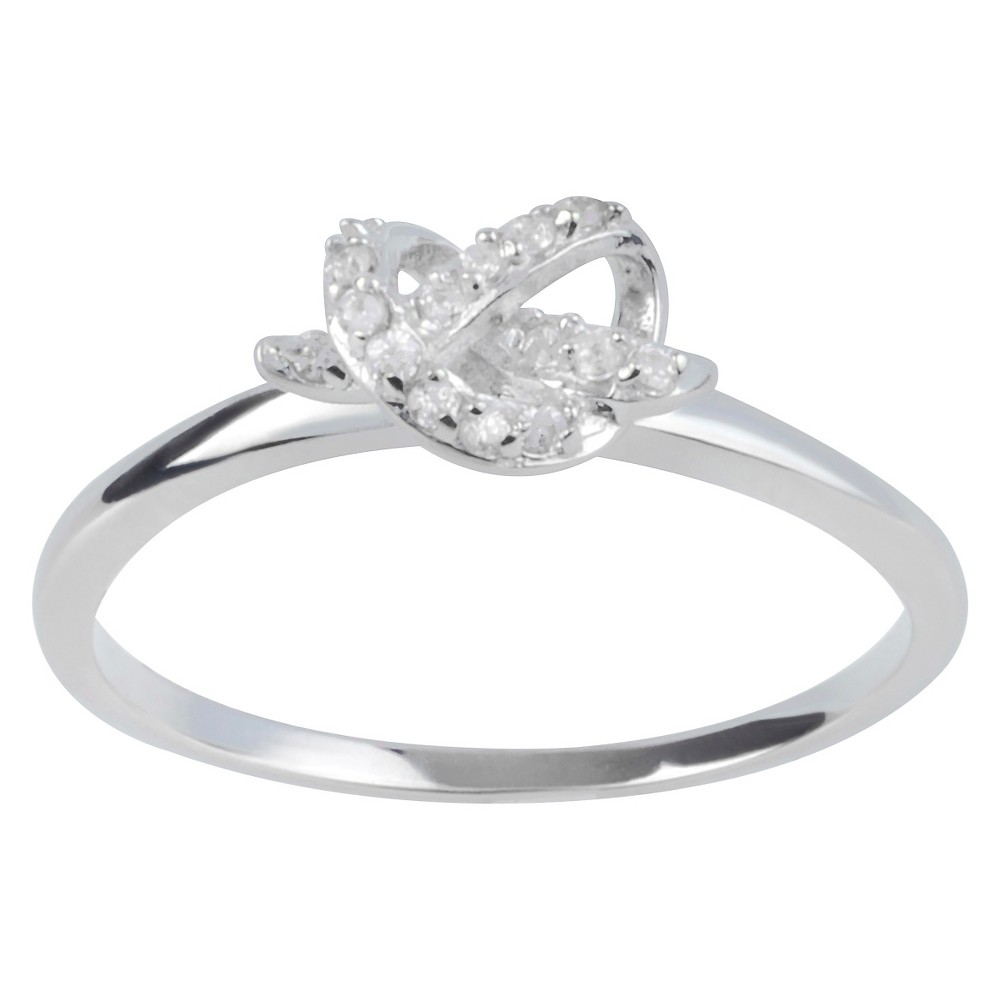 1/8 CT. T.W. Round-Cut CZ Bezel Set Knot Design Ring in Sterling Silver - White, 7, Girl's