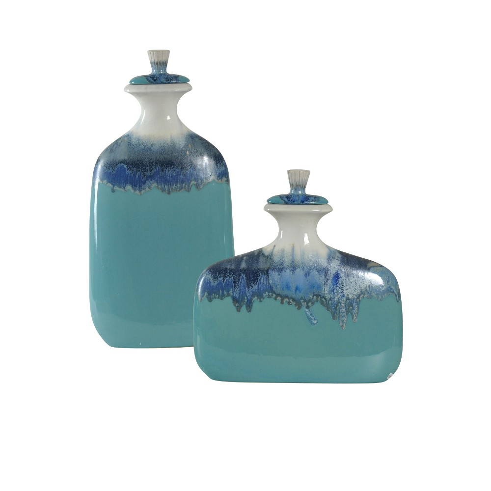 Image of Decorative Accent Jars Set of 2 - Blue