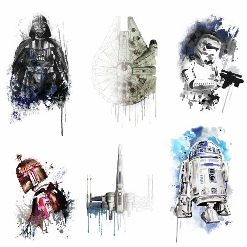 RoomMates Star Wars Iconic Watercolor Peel and Stick Wall Decals 2 Sheets - image 1 of 3