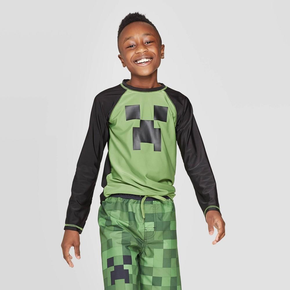 Boys 39 Minecraft Long Sleeve Rash Guard Swim Shirt Green