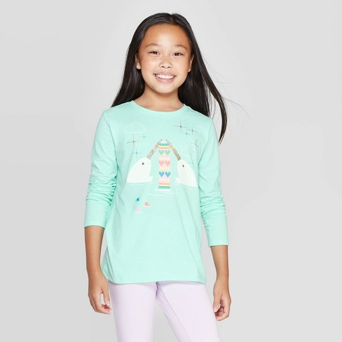 Girls' Long Sleeve Knitting Narwhal Graphic T-Shirt - Cat & Jack™ Mint - image 1 of 3