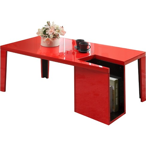 ioHomes Simone Glossy Modern Coffee Table with Magazine Slot - Red - image 1 of 3