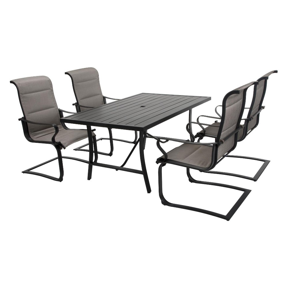 'It's a Snap' 5pc Rectangle Patio Dining Set - Gray/Beige - Cosco Outdoor Living