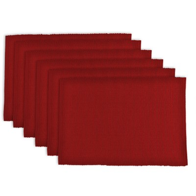 Set of 6 Wine Ribbed Placemat Red - Design Imports