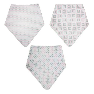 Neat Solutions Interlock/Knit Terry Bandana Bib Set - Pink Stripe Floral - 3pk