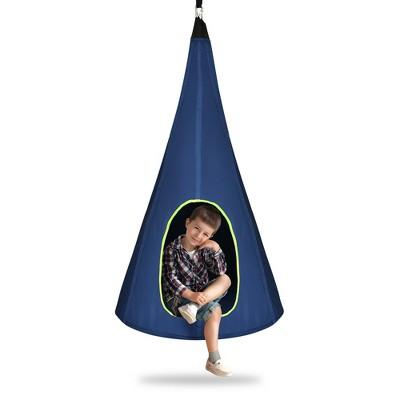 Goplus 32'' Kids Nest Swing Chair Hanging Hammock Seat for Indoor Outdoor Green\Blue