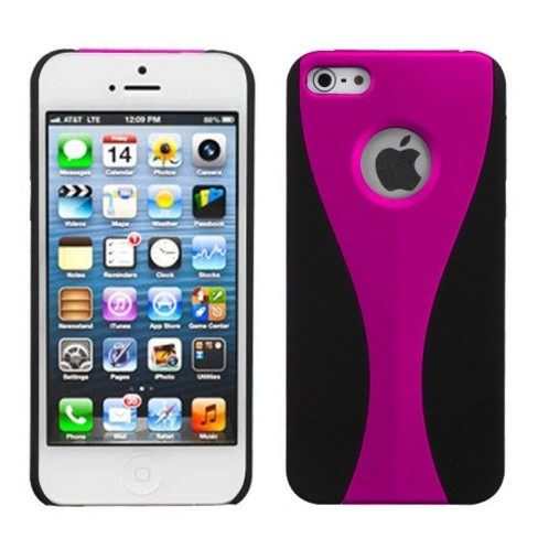MyBat C Wave Rubberized Hard Snap-in Case Cover Compatible With Apple iPhone 5/5S/SE, Pink/Black - image 1 of 3