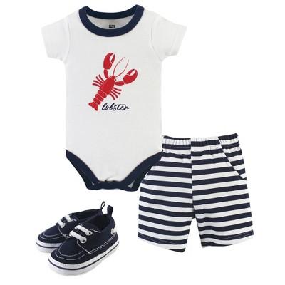 Hudson Baby Infant Boy Cotton Bodysuit, Shorts and Shoe 3pc Set, Lobster