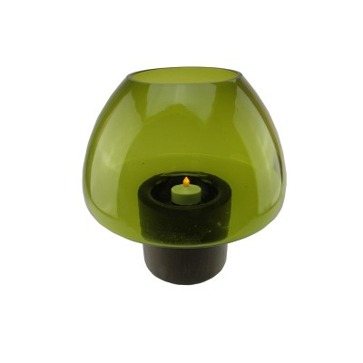 """Northlight 9.75"""" Transparent Olive Green Glass Candle Holder with Wooden Base"""