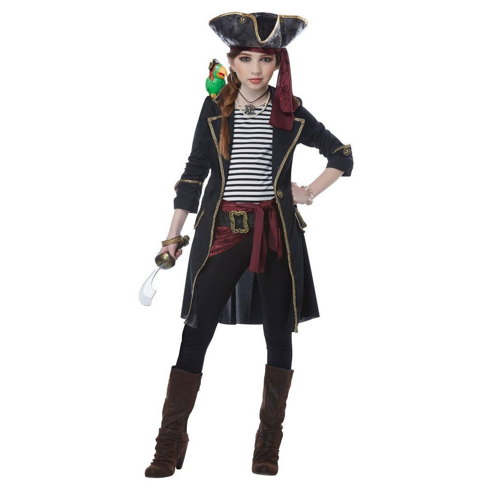 Image of Halloween Girls High Seas Captain Costume S(4-6), Girl's, Size: Small, MultiColored