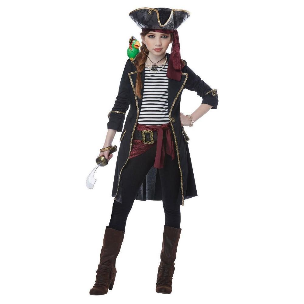 Image of Halloween Girls High Seas Captain Costume M(8-10), Girl's, Size: Medium, MultiColored