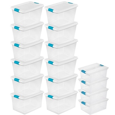 Sterilite 64 Qt. Plastic Storage Container (12 Pack) and Deep Clip Box (4 Pack)