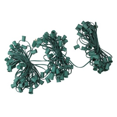 "Northlight 100' Commercial C9 Christmas Light Socket Set - 12"" Spacing 18 Gauge Green Wire"