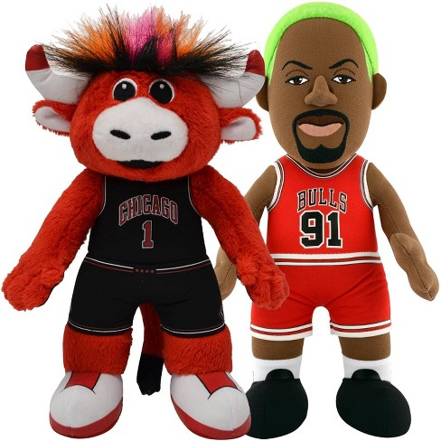 "NBA Chicago Bulls Bundle: Benny The Bull and Dennis Rodman 10"" Plush Figures.. - image 1 of 4"
