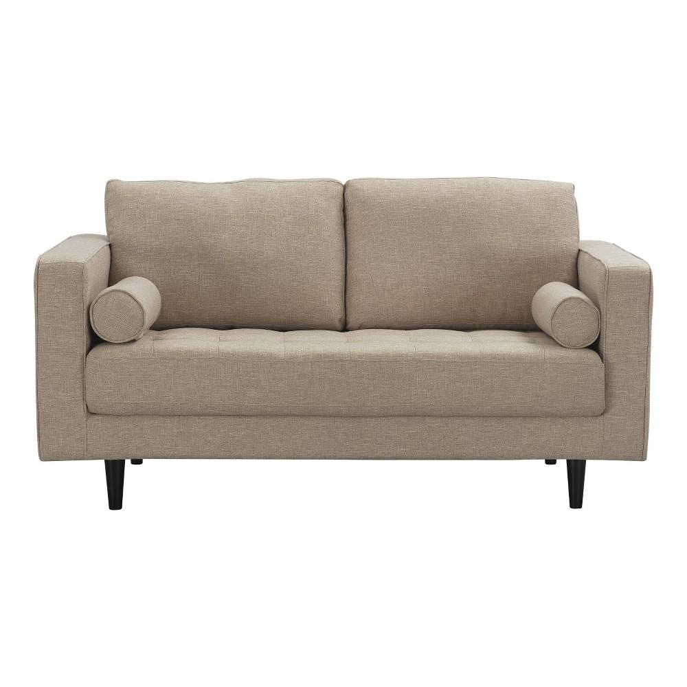 Arthur 2 Seat Tweed Loveseat Tan - Manhattan Comfort