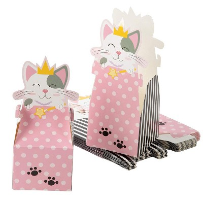 24 Cat Party Favor Boxes with Die-Cut Princess Cat for Goodie Gift 3.5 x 3.5 x 8