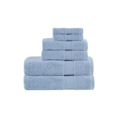 6pc Organic Cotton Bath Towel Set Blue