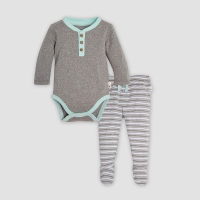 Burt's Bees Baby® Organic Cotton Henley Bodysuit & Micro Peace Stripe Footed Pant Set - Heather Gray Newborn