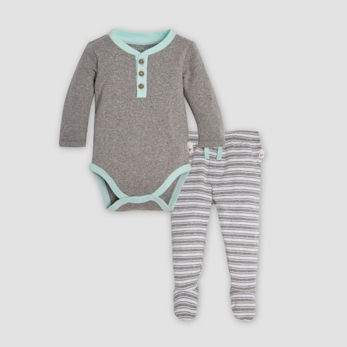 Burt s Bees Baby® Organic Cotton Henley Bodysuit   Micro Peace Stripe  Footed Pant Set - Heather Gray 9c12a57819d8