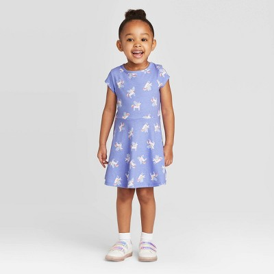 Toddler Girls' Short Sleeve Knit Dress - Cat & Jack™ Blue 12M