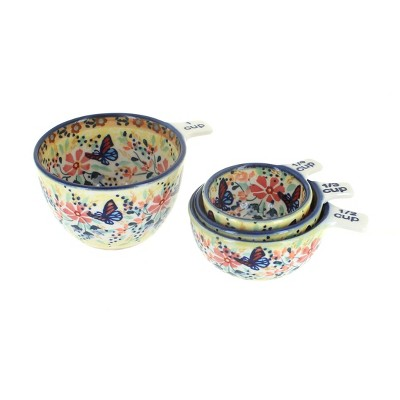 Blue Rose Polish Pottery Blue Butterfly Measuring Cup Set