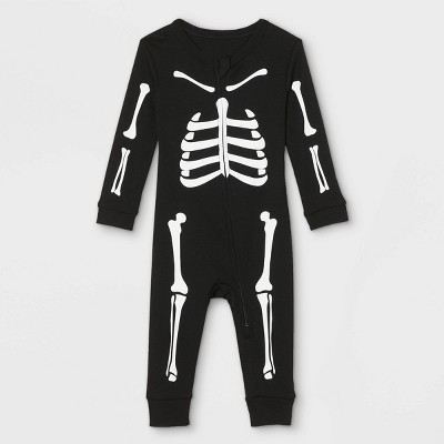 Baby Halloween Skeleton Matching Family Union Suit - Black