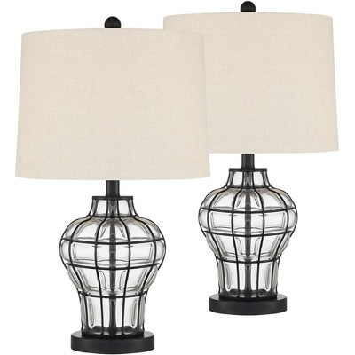360 Lighting Modern Table Lamps Set of 2 Dark Bronze Blown Clear Glass Gourd Burlap Fabric Drum Shade Living Room Bedroom Bedside