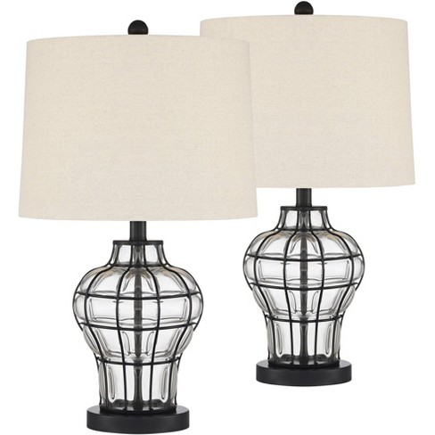 360 Lighting Modern Table Lamps Set of 2 Dark Bronze Blown Clear Glass Gourd Burlap Fabric Drum Shade Living Room Bedroom Bedside - image 1 of 4